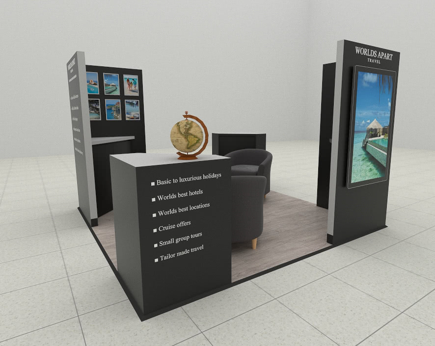 Worlds Apart Travel Kiosk Render